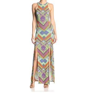 Mara Hoffman maxi dress high slit XS colorful